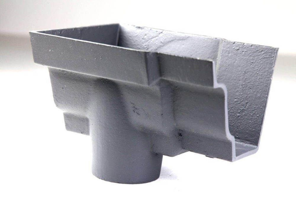 Cast Iron Moulded Ogee Gutter Left Hand Stopend Outlet - 100mm for 65mm Downpipe Primed