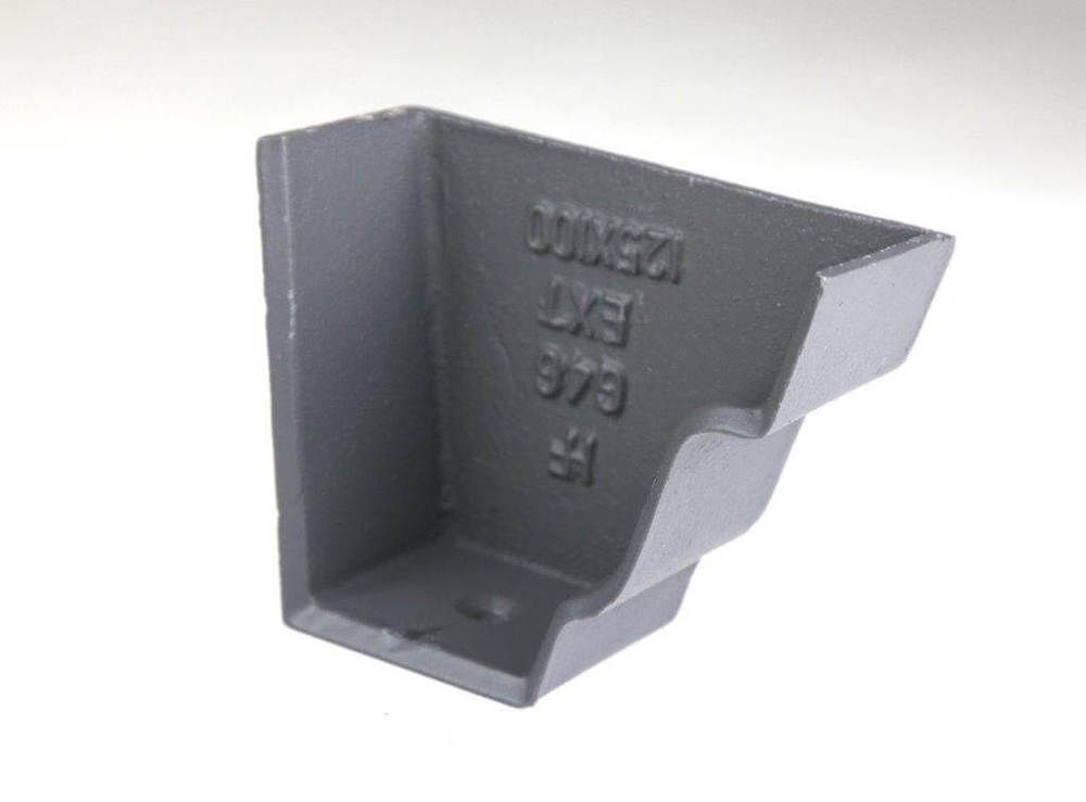 Cast Iron Moulded Ogee Gutter Right Hand Stopend - 100mm Primed