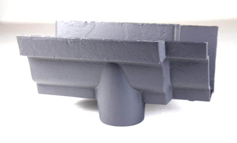 Cast Iron Moulded Ogee Gutter Running Outlet - 125mm for 100mm Downpipe Primed