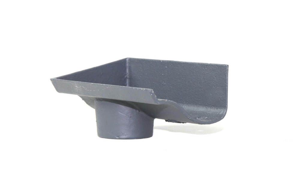 Cast Iron Ogee Gutter Left Hand Stopend Outlet - 115mm for 65mm Downpipe Primed