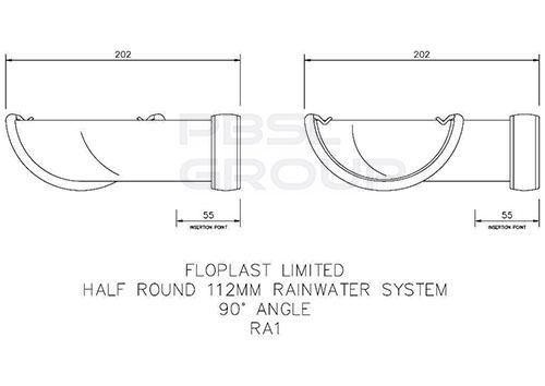 Half Round Gutter Angle - 90 Degree x 112mm Brown