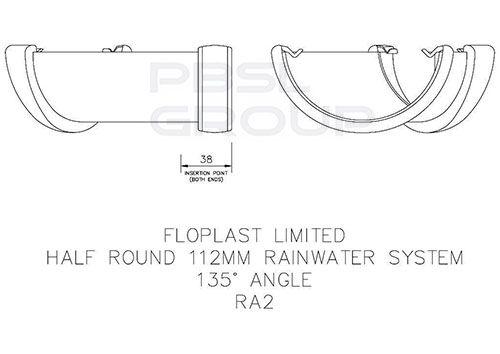 Half Round Gutter Angle - 135 Degree x 112mm Brown