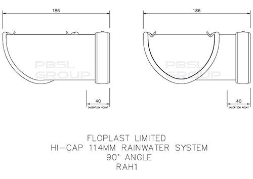 Deepflow/ Hi-Cap Gutter Angle - 90 Degree x 115mm x 75mm Black