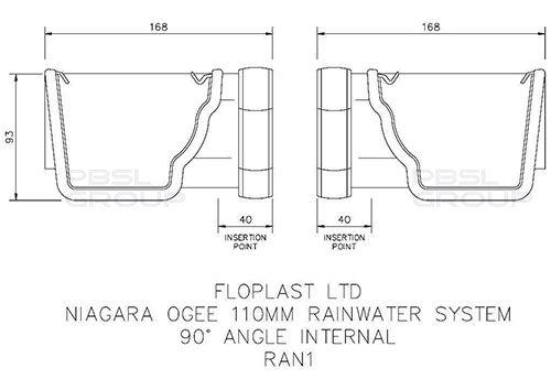 Ogee Gutter Internal Angle - 90 Degree x 80mm Black
