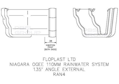 Ogee Gutter External Angle - 135 Degree x 80mm Brown