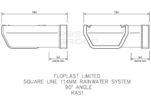 Square Gutter Angle - 90 Degree White