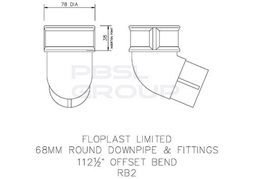 Round Downpipe Offset Bend - 112.5 Degree x 68mm Brown