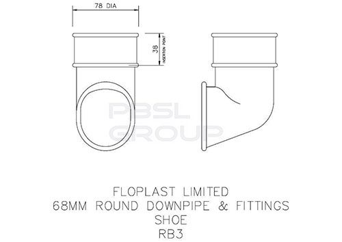 Round Downpipe Shoe - 68mm Grey