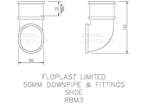 Mini Gutter Downpipe Shoe - 50mm Black