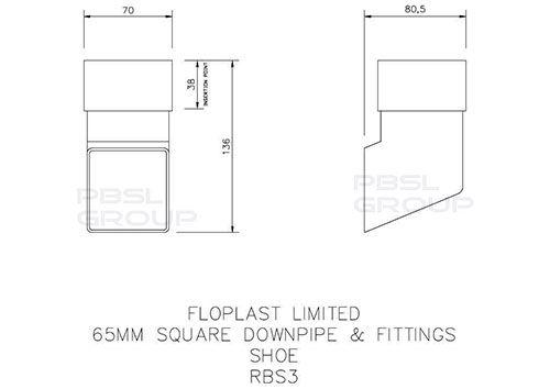 Square Downpipe Shoe - 65mm White