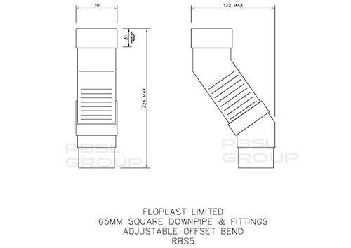 Square Downpipe Adjustable Offset Bend - 65mm Black