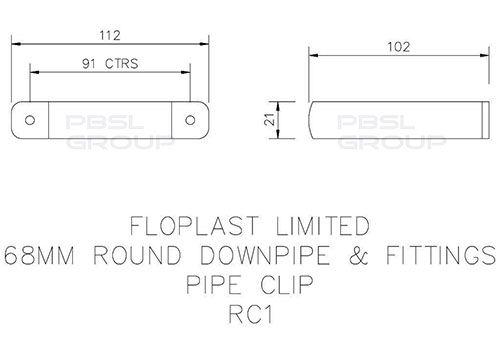 Round Downpipe Clip - 68mm Black