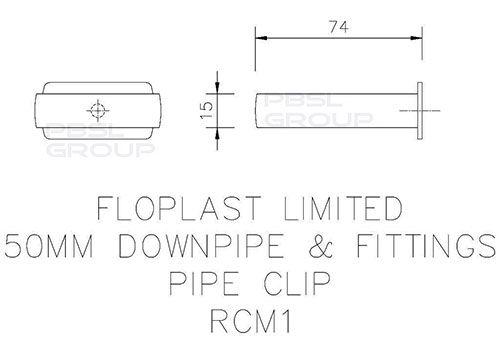 Mini Gutter Downpipe Clip - 50mm Black