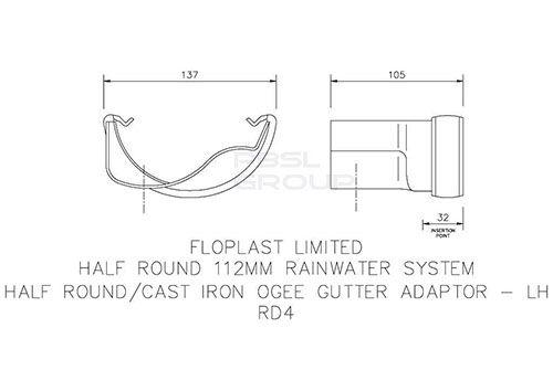 PVC Half Round to Cast Iron Ogee Left Hand Gutter Adaptor - Black