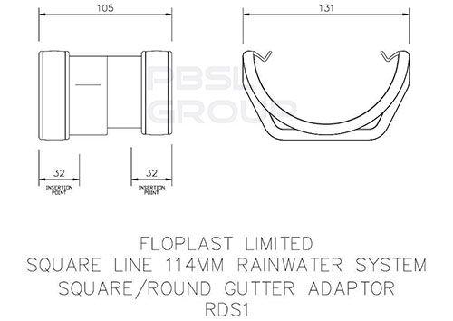 PVC Square to PVC Half Round Gutter Adaptor - White