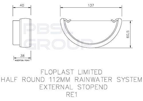 Half Round Gutter External Stopend - 112mm White