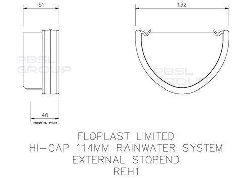 Deepflow/ Hi-Cap Gutter External Stopend - 115mm x 75mm Black