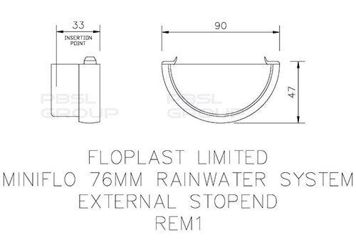 Mini Gutter External Stopend - 76mm White