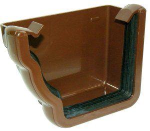 Ogee Gutter External Stopend Left Hand - 110mm x 80mm Brown