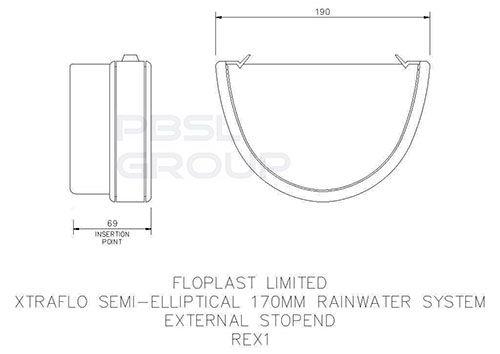 Industrial/ Xtraflo Gutter External Stopend - 170mm White