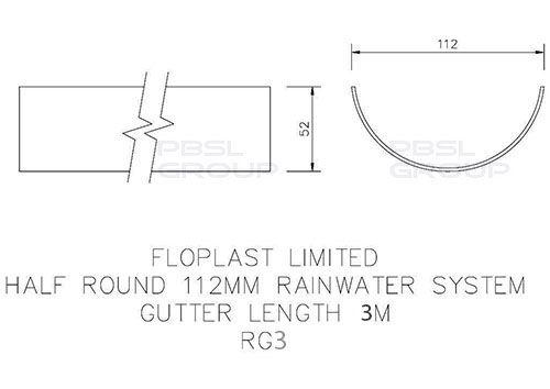 Half Round Gutter - 112mm x 3mtr Black