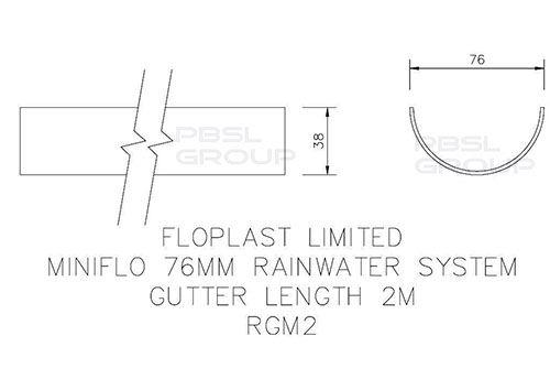 Mini Gutter - 76mm x 2mtr White