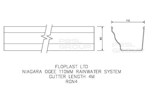 Ogee Gutter - 110mm x 80mm x 4mtr Anthracite Grey - OUT OF STOCK