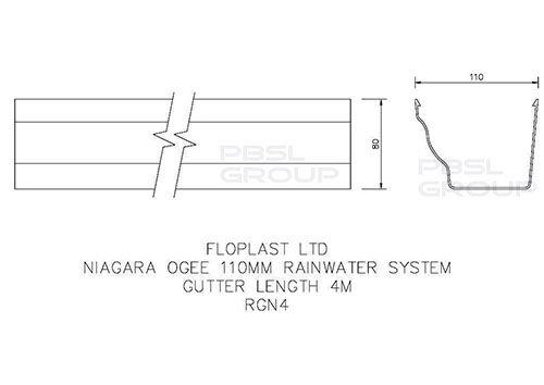 Ogee Gutter - 110mm x 80mm x 4mtr Brown