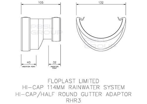 Deepflow/ Hi-Cap to Half Round Gutter Adaptor - White