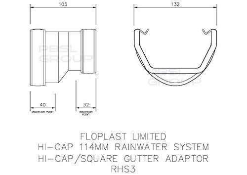 Deepflow/ Hi-Cap to Square Gutter Adaptor - Black