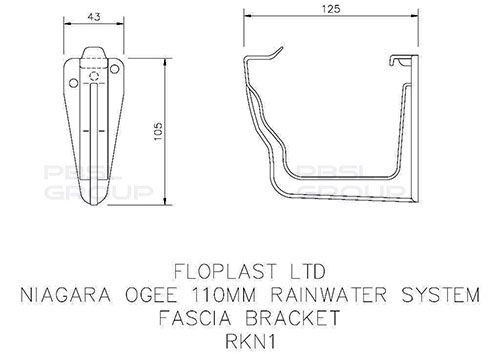 Ogee Gutter Fascia Bracket - 110mm x 80mm Black
