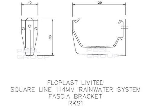 Square Gutter Fascia Bracket - 114mm Black