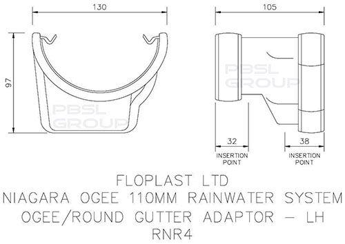PVC Half Round to PVC Ogee Left Hand Gutter Adaptor - Black