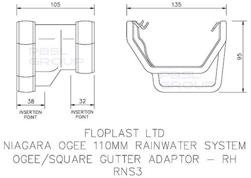 Square to Ogee Right Hand Gutter Adaptor - Brown