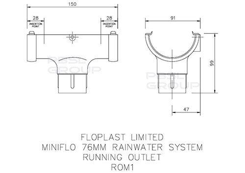 Mini Gutter Running Outlet - 76mm Black