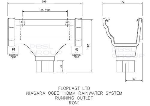 Ogee Gutter Running Outlet - 110mm x 80mm Brown
