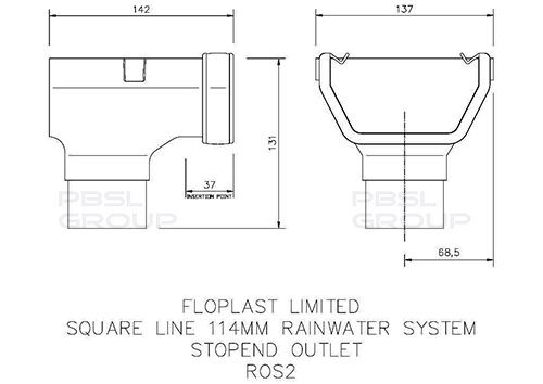 Square Gutter Stopend Outlet - 114mm White
