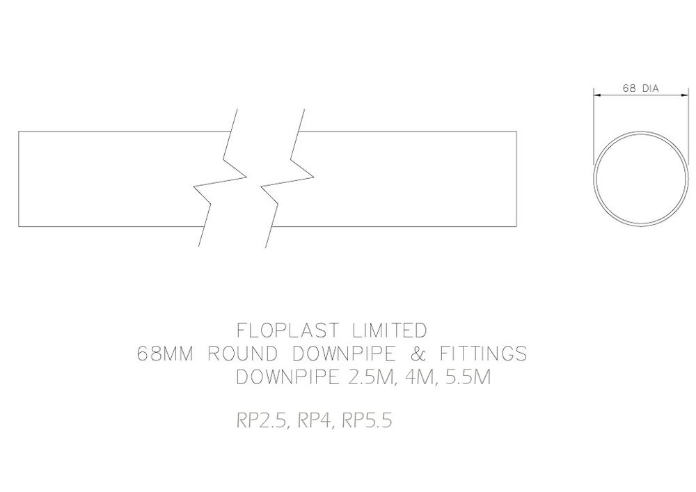 Round Downpipe - 68mm x 5.5mtr Black