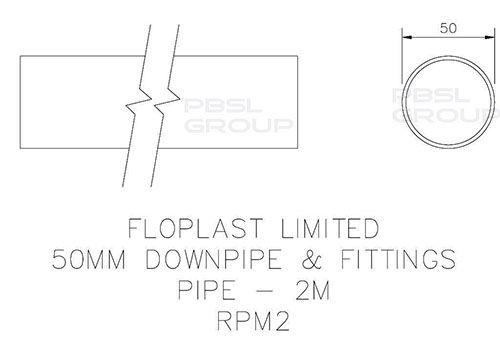 Mini Gutter Downpipe - 50mm x 2mtr White
