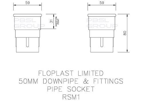 Mini Gutter Downpipe Socket - 50mm Brown