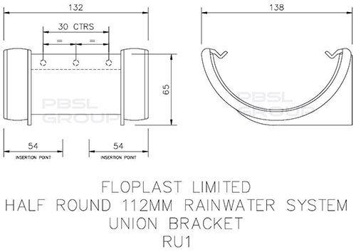 Half Round Gutter Union Bracket - 112mm Grey