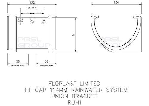 Deepflow/ Hi-Cap Gutter Union Bracket - 115mm x 75mm Black