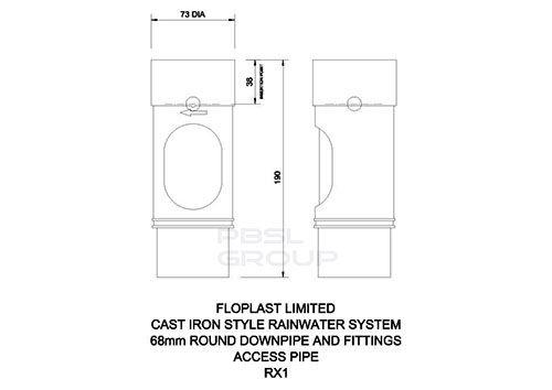 Round Downpipe Access Pipe - 68mm Black