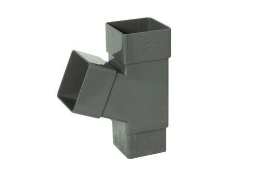 Square Downpipe Branch - 112 Degree Anthracite Grey