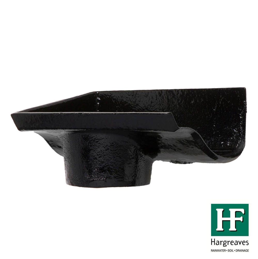Cast Iron Ogee Gutter Left Hand Stopend Outlet - 115mm for 75mm Downpipe Black