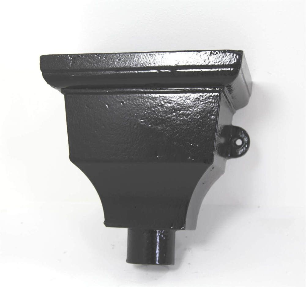 Cast Iron Round Downpipe Hopper Head Traditional Eared Outlet - 65mm Black