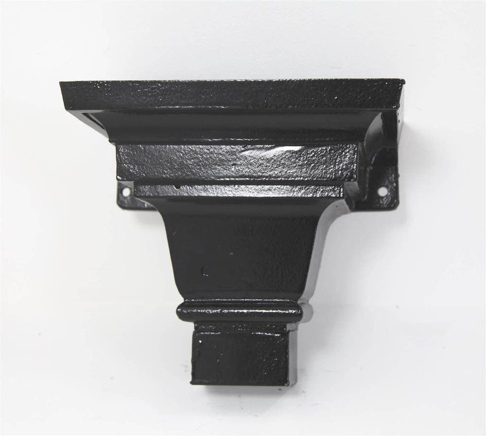 Cast Iron Round Downpipe Hopper Head Traditional Shallow Flanged Outlet - 75mm Black