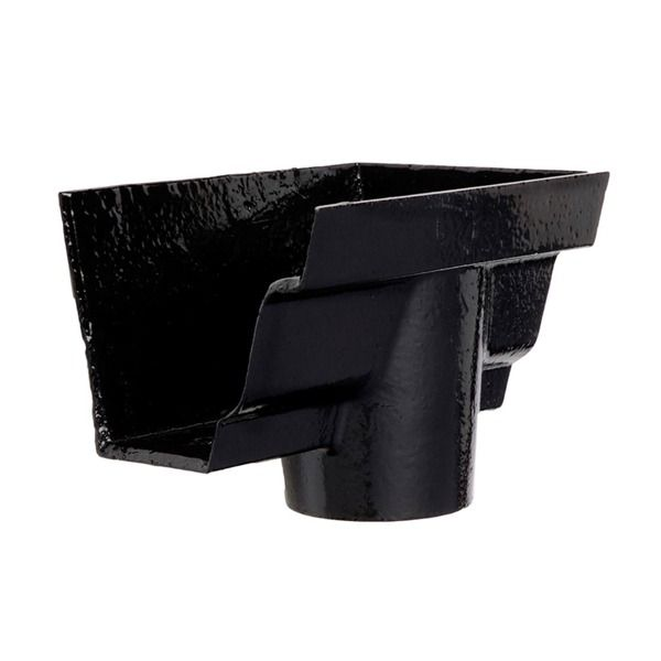 Cast Iron Moulded Ogee Gutter Right Hand Stopend Outlet - 125mm for 75mm Downpipe Black