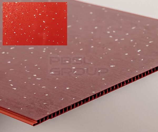 4 X RED  SPARKLE WET WALL   250MM X 5MM X 2700MM X WIDE PVC WATER PROOF PANELS