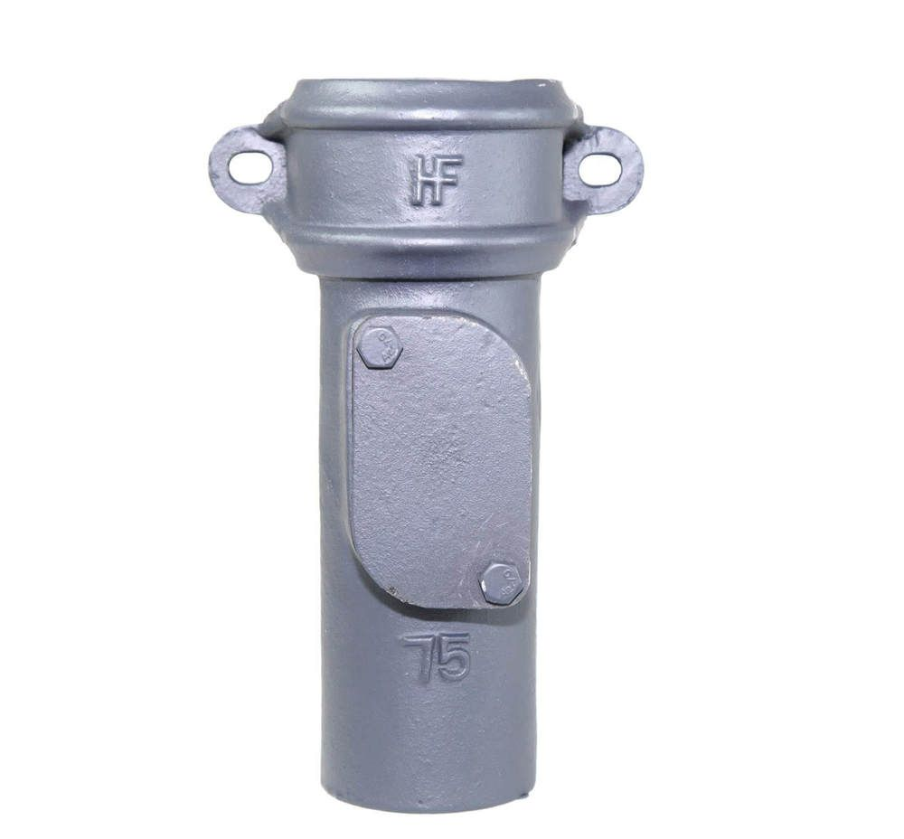 Cast Iron Round Downpipe Eared Access Pipe - 65mm Primed